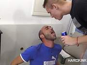 Handsome dude gets his feet worshiped by his slave