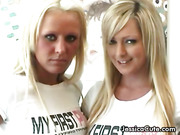 Two blondes with huge boobs strip and have hot lesbians sex