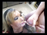 Blonde babe gets her face drenched in sticky cum from many dicks.