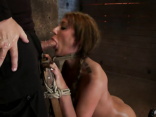 brunette slut bondage sucks
