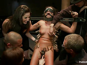 blindfolded brunette chick with