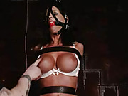 Luscious babe gets bounded with her legs wide open then gets gagged by a red ball while getting her pussy vibrated with a white vibrator wearing her white bra and black fishnet stockings before she gets strapped naked and bent over prone on a black bed.