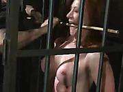bondage, cage, redhead, smoking