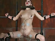 Naked chick gets her neck chained and her hands and head locked in a big round wooden cuff before she gets strapped in different poles and beds then sucks a big dildo then gets her mouth gagged with a red ball before she gets her foxy body elecrticuted th