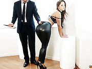 Hot ass bitch poses in tight leggings and gets ass fucked