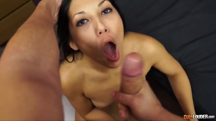 Brunette tramp sucks two cocks while black dude eats her wideopen pussy 5
