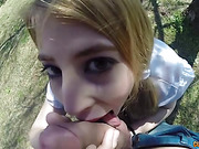 Skinny red haired babe gives good blowjob before having a fuck