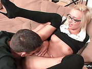 Cute blonde student gets smashed by her horny teacher