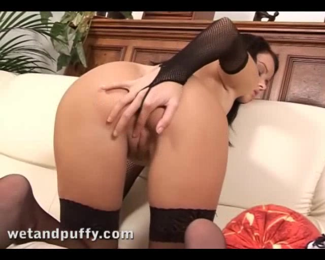 Seductive Dark Haired Chick Likes A Glass Dildo In Her Puffy Pink Pussy