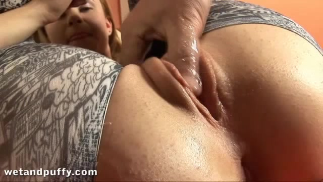 Blonde Girl Exposes Pussy And Asshole Through A Hole In Her Pants.