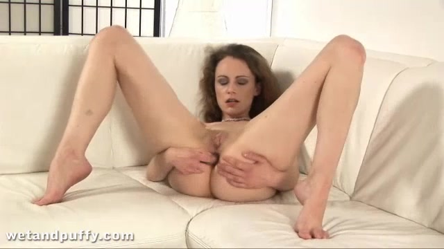 Brunette Set A Huge Dildo On Couch And Rides It Hard.