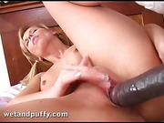 black, blonde, dildo, pussy