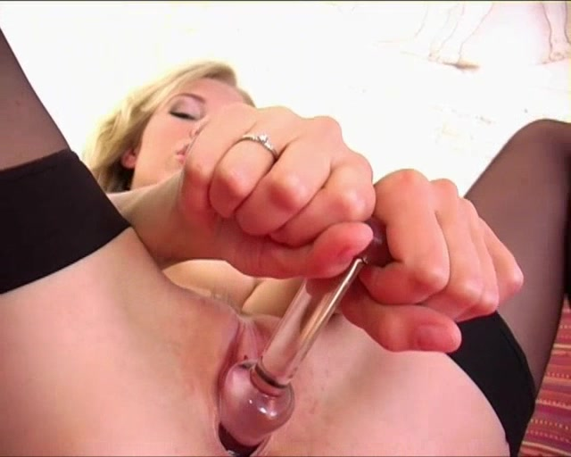 Blonde Wearing Pantyhose And Heels Dildo Fucks Herself With Dildo