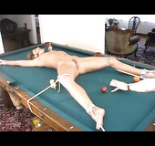 Brunette lady with a trimmed pussy gets used on the pool table