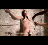 Brunette with a trimmed twat in bondage gets toyed