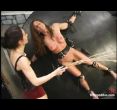 Brunette bitch with long hair gets used by her mistress