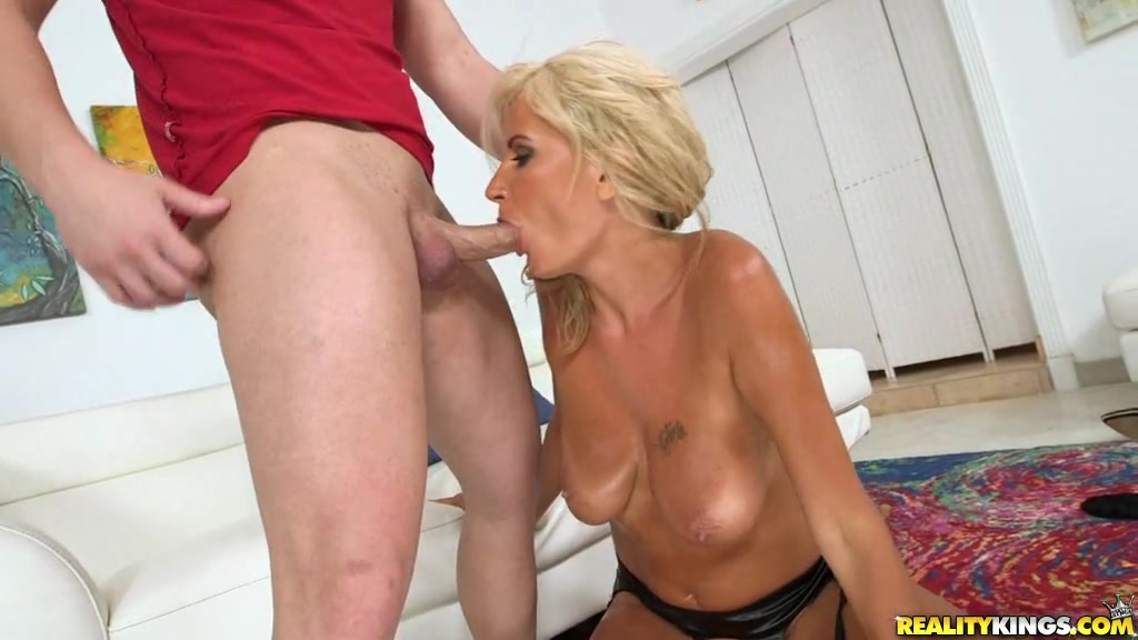 Short Haired Blonde Worships His Cock With Her Mouth Before Getting Pussy Pounded
