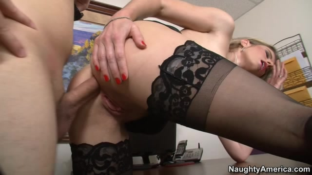 Hot Blonde In Black Lingerie Teaches Young Dude How To Lick Pussy Right Then Rides His Hard Cock On The Table