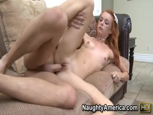Cute Redhead In Pink Panties Feels Dude Up Then Spreads Her Pussy For His Big Cock