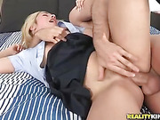 blonde college girl black