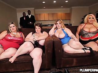 four plump pornstars meet