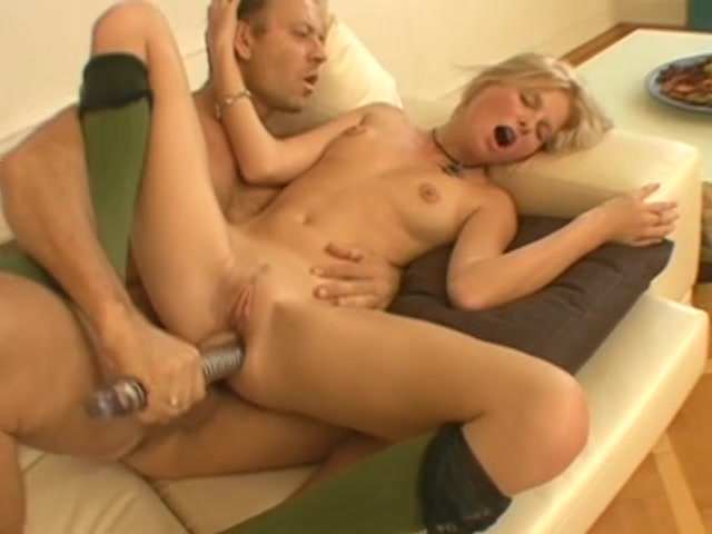 Skinny Blonde Fucks Her Pussy With Dildo While Having A Massive Dick In Her Ass