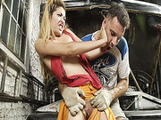 Horny mechanic rips blondie's clothes and fuck her badly at the car