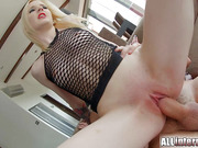 Gothic Tattoed Blonde Whore Wildy Rides Hard Dick And Gets Creampied