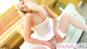 blonde bimbo white stockings