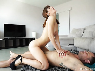 petite brunette pigtails and