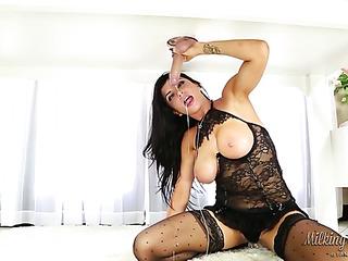 skilled brunette black lace