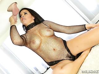 good-looking brunette black mesh