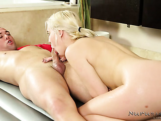 ponytail blonde offers sensual