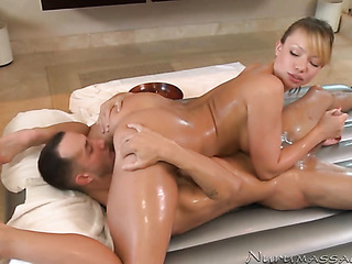 Asian girl enjoys a massage before 1
