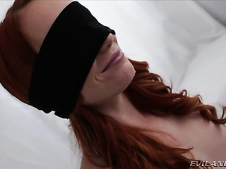blindfolded redhead slut enjoys