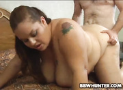 brunette bbw spreads her