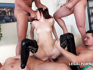 blindfolded brunette leather thigh-high
