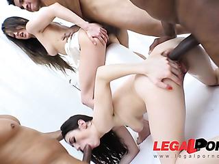 lesbian brunettes white top