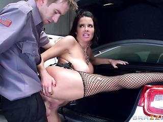 brunette slut black corset