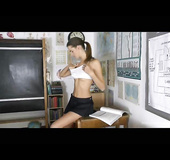 Ponytail brunette takes off her gym kit and touches herself