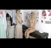 Schoolgirl uniform blonde stripping with her doctor
