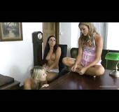 Nightie-wearing lesbians undressing in their headmistress' office