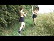 skirt-wearing lesbians skip their