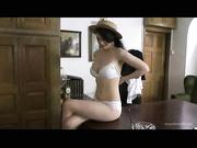 white underwear brunette hat
