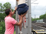 blondes, shaved, teen, train