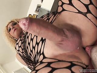 blonde tranny black fishnet