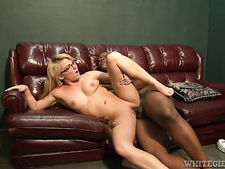 busty blonde glasses gets