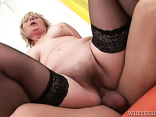 mature granny black stockings
