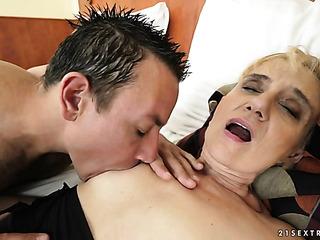 horny blonde grandma toyed