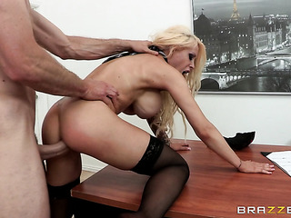 talanted tattooed blonde secretary